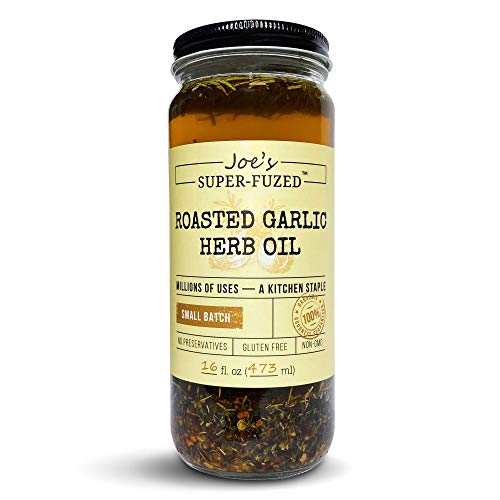 Joe's Super-Fuzed Roasted Garlic Herb Oil, Gourmet Small-Batch EVO Olive Oil Blend for Bread Dipping, Vegetable Roasting, Meat Rubs. A Taste Sensation. Gift Boxed with Free Recipes, Great Foodie Gift