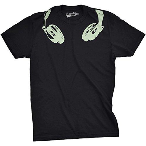 Mens Glow in The Dark Headphones T Shirt Cool Music Lover DJ Funny Graphic Tee (Black) - 3XL