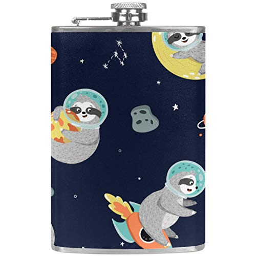 Flat Liquor Flask Alcohol Drink Bottle Outdoor Camping Party Flask Cartoon Cute Sloth Space Starry Sky