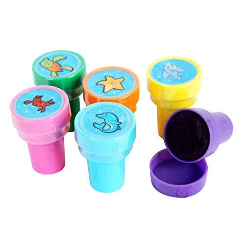 Toyvian 6 Stücke Durable Plastic Kreative Mini Selbstfarb Stempel für Geburtstagsgeschenk Kinder Party Schule Preise Lernen Requisiten