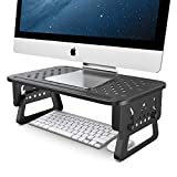 ATUMTEK Monitor Stand Riser, 3 Height Adjustable Metal Monitor Desk Stand with Mesh Platform for Computer Screen Laptop iMac PC Printer Small Projector and More - Matte Black