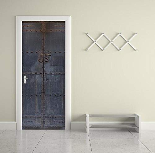 Wandsticker met 3D-print in vintage-stijl, Iron Gate, PVC, waterdicht, voor de hele deur, creatieve stickers, voor de muur, deur, om zelf te maken, muur, slaapkamer, woondecoratie, 77 x 200 cm