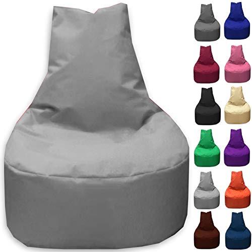 Sitzbag Sitzsack Sessel XL - XXL für Kinder und Erwachsene - In & Outdoor Sitzsäcke Kissen Sofa Hocker Sitzkissen Bodenkissen (XL - 68cm Durchmesser, Grau)