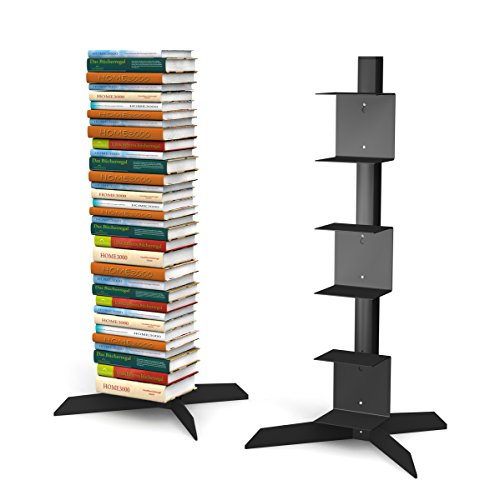 home3000 Freistehendes Bücherregal mit 3 kleinen Regalen in schwarz für ca. 115 cm Büchersäule