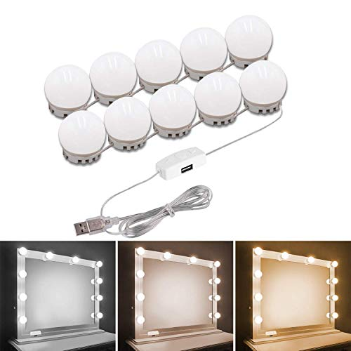 Pink Makeup Mirror Lights POVO 14 LED Bulbs DIY Hollywood Style Vanity Mirror Lights with 3 Adjustable Color Mode and 10 Dimmable Brightness USB Operated