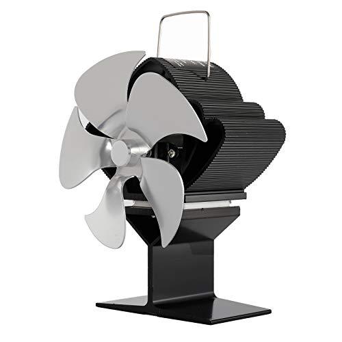 Wivarra SF103S Calentador de Chimenea de EnergíA TéRmica Plateado Cinco Cuchillas Ventilador de CalefaccióN para Chimenea Ventilador de Chimenea Seguro para el Hogar Calor Eficiente