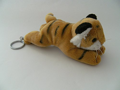 Schlüsselanhänger Tiger, braun, aus Plüsch, 13 cm, Tier Tiere, Raubkatze