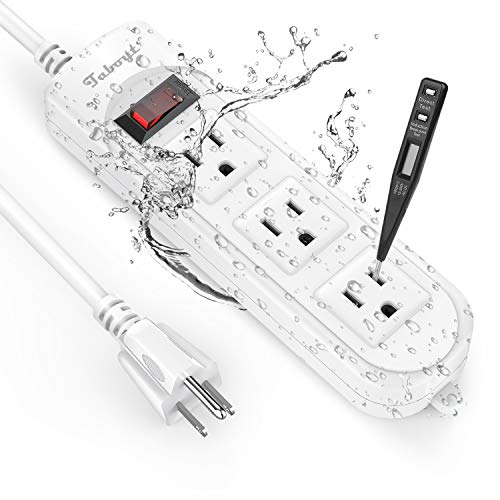 Taboyt Power Strip Surge Protector, Patented Waterproof and Electric Shock Proof Powerstrip w/ 3 Outlets, Flag Plug and 6 Foot Weatherproof Extension Cord for Kitchen Bathroom Garden Pool Outdoor