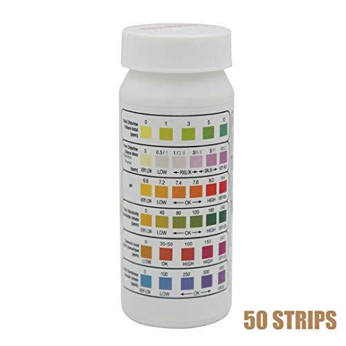 NWQEWDG Pack de bandelettes de Test pour piscines et spas, pH, Chlore, Brome, dureté, etc.