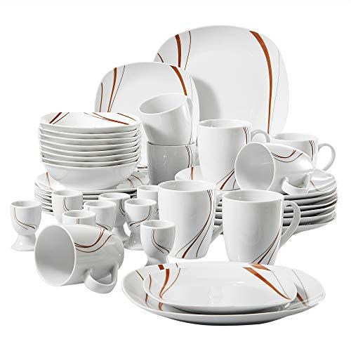 VEWEET Kombiservice 'Bonnie' aus Porzellan 40 teilig | Geschirrservice für 8 Personen | Frühstückservice mit je 8 Eierbecher, Kaffeebecher 350 ml, Müslischalen, Dessertteller und Flachteller
