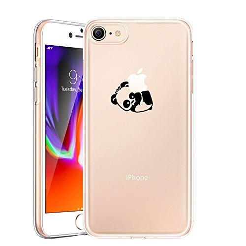 AILRINNI Cover iPhone 8, Silicone Custodia Trasparente Morbida Case [Ultra Sottile] Flessibile TPU Custodia Cover con Disegni per iPhone 8 - Panda