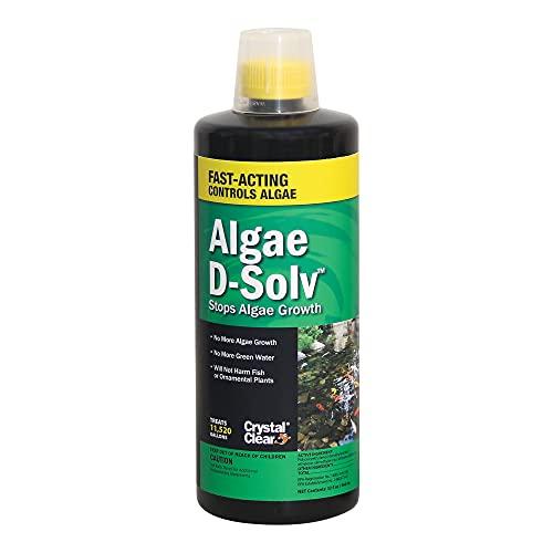 CrystalClear Algae D-Solv – EPA Registered Algaecide – Safe for Fish and Plants: 32 Ounces Treats 11,520 Gallons