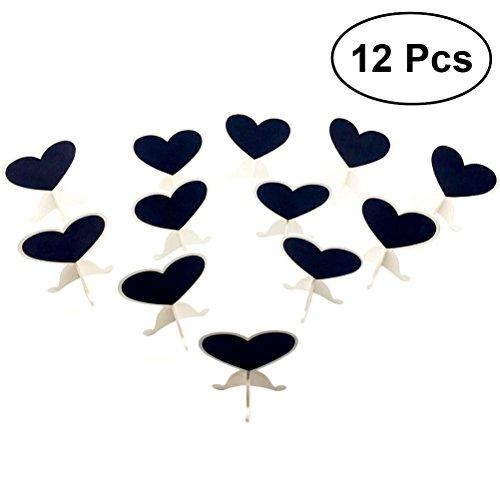 ULTNICE 12pcs mini effaçable ardoise tableau noir coeur message cadre présentoir pour la maison de noce