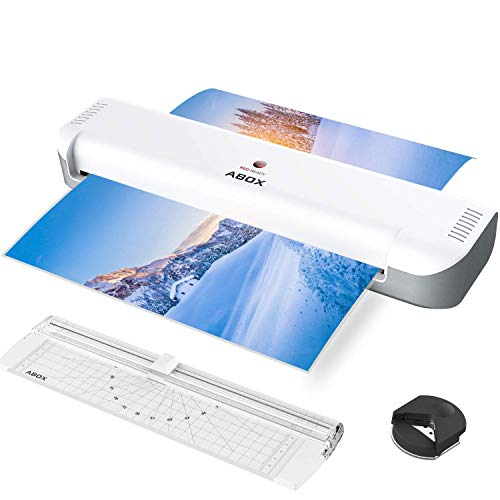 ABOX Laminator Machine, 13 Inch Thermal Laminating Machine OL341 with 16 Pouches, Portable Cutter, Corner Rounder