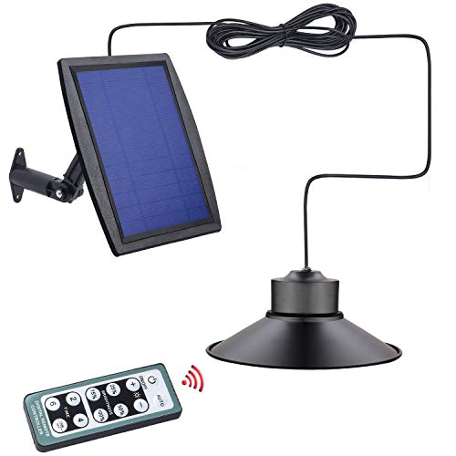 Solar Powered Shed Light with Timer IP65 Waterproof ,Kyson 3W Solar Remote Indoor Barn Chicken Coop Lights with Adjustable Brightness and Two Working Modes