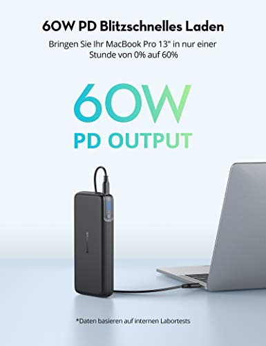 RAVPower PD 60W Powerbank USB C Power Delivery 20000mAh Quick Charge 3.0 mit Type C Kabel für iPhone 11/12 Pro Max XS XR, iPad Air Pro, Galaxy, HP, Nintendo Switch usw.