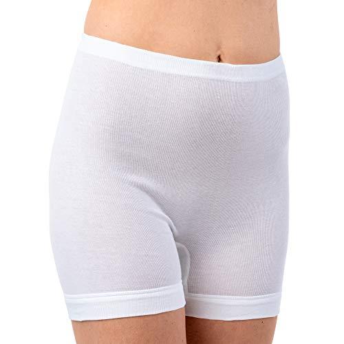 HERMKO 1900 4er Pack Damen Schlüpfer mit längerem Bein aus 100% Baumwolle; 95°C waschbar, Farbe:weiß, Größe:44 (L)