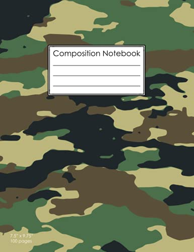 Composition Notebook: Camo Camouflage Hunting    Blank Wide Ruled Workbook for Girls Boys Kids Teens Students