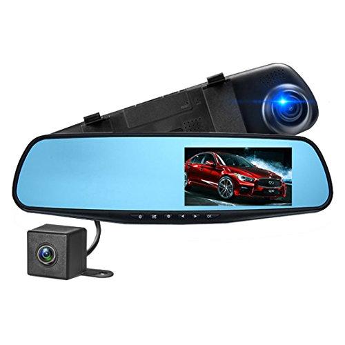 10,9 cm LCD HD 1080p Dash Cam, avant et arrière Car Camera DVR Enregistreur vidéo, DVR Véhicules avec objectif grand angle à 140 degrés et G-Sensor pour enregistrement automatique (Noir)