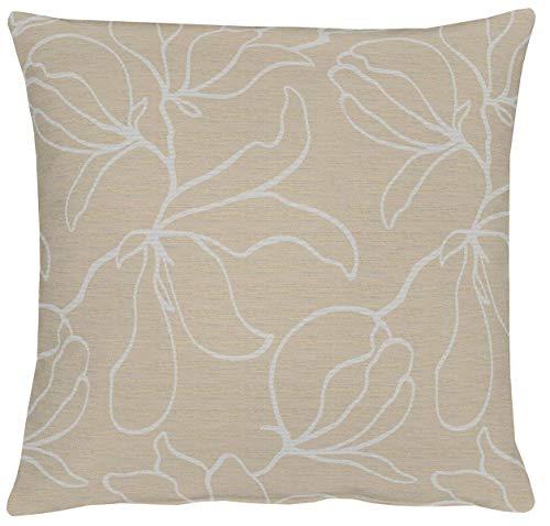 Apelt 4887_40x40_25 Jaquard Magnolie - Funda para cojín, diseño de Flores, Color Beis