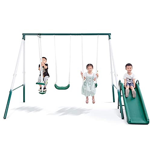 Metal Swing Set for Backyard with Slides Medium and Large Playground Swing Set Suitable for Kids Toddlers Porch Backyard 2 in 1 Game Set Outdoor