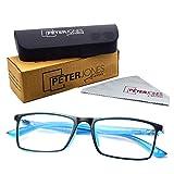 Peter Jones Rectangle Blue Light Blocking Reading Glasses for Men Women, Computer Readers