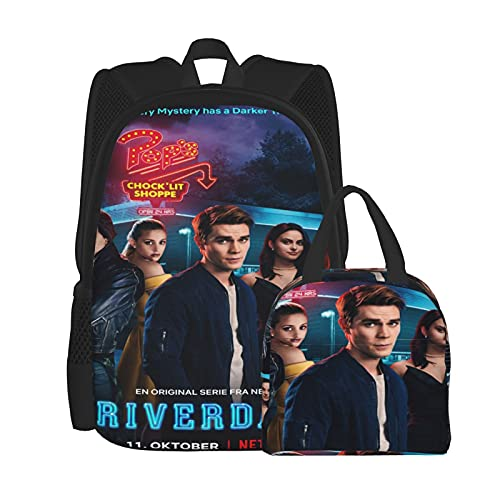 Ri_Ver-Da1e - Juego de mochila con póster, mochila para ordenador portátil, bolsa de hombro para estudiantes con bolsa de almuerzo (2 piezas), Negro, Talla única