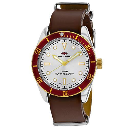 Seapro Reloj de pulsera para hombre Revival de acero inoxidable de cuarzo, correa de piel, marrón, 22 años (modelo: SP0304)