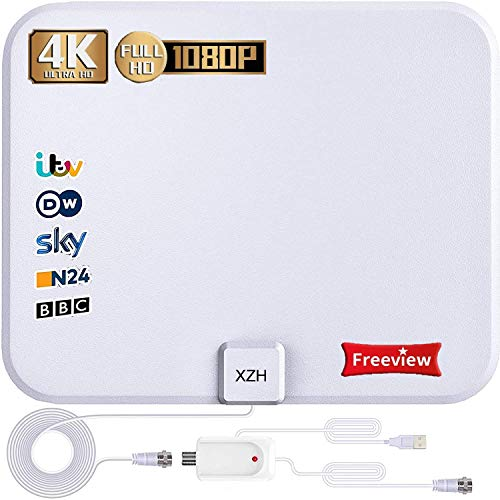 TV Aerial, Freeview Indoor Digital HDTV Aerial 250+ MK Range with Amplifier Signal Booster,4K 1080P HD VHF UHF TV Tuner DVB-T Television Radio High Gain Stronger Reception for All Types