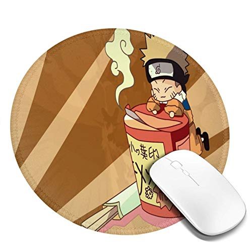 Round Mouse Pad 20x20cm Computer Mouse Mat,Ruto Shippuuden Ramen Uzumaki Naruto Chibi,Office Non-Slip Rubber Base Water Resistant Stitched Edge,Gaming Mouse Pad