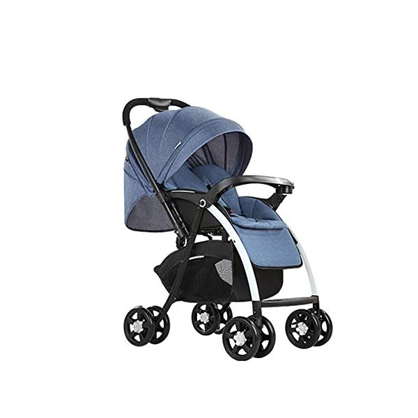 MOMOJA Foldable Baby Stroller Pushchairs 5 Point Harness Max Capacity 25kg (Blue) MOMOJA Easy folding - this pushchair is as easy to fold away as possible - the comfort stroller can be folded with one hand only within seconds, leaving one hand always free for your little ray of sunshine. Long use - this buggy can be used for a very long time; it is suitable From birth (also compatible with 2-in-1 carrycot or comfort fix infant car seat) up to a maximum of 25 kg. Comfortable - backfriendly push handle adjustable in height; backrest and footrest are multi-adjustable, the hood extendable; in addition, the pushchair comes with suspension, swiveling front wheels, soft padding and large shopping basket. 2