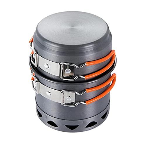 YourBoob Kit De Utensilios De Cocina para Acampar Al Aire Libre Aluminio Compacto Plegable Ligero Olla para Acampar Juego De Cocina para Acampar Senderismo