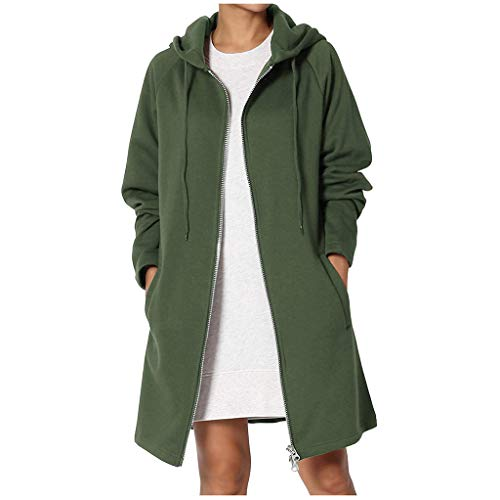 Great Features Of Pumsun Women Loose Fit Pocket Zip Up Hooded Cardigan Long Tunic Jacket Coat (S, Gr...