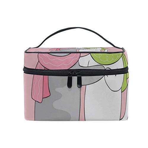 Sac de maquillage Chat noir et sac de cosmétique rose dansant rose Grand sac de toilette portable pour femmes/filles Voyage