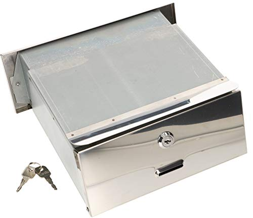 KOTARBAU® Edelstahl Mauerdurchwurf Briefkasten mit regulierbarer Tiefe 160 – 295 mm Einbaubriefkasten Durchwurfkasten für Hauswände und Zaunmauern Silber