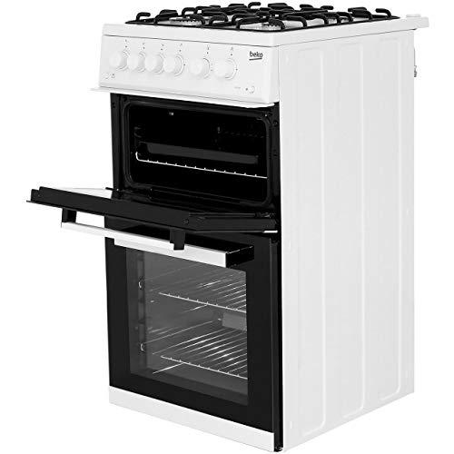 Beko KDG582W 50cm Gas Double Cavity Cooker in White 4 Hotplate Burners