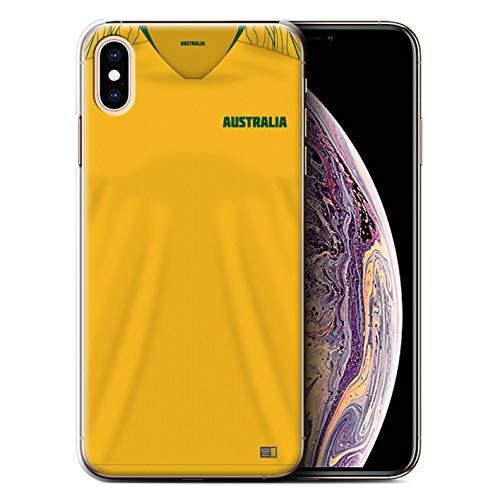 Handy Hülle kompatibel mit Apple iPhone XS Max Weltmeisterschaft 2018 Fußball Trikot Australien/Australier Transparent Klar Ultra Dünne Handyhülle Case Cover