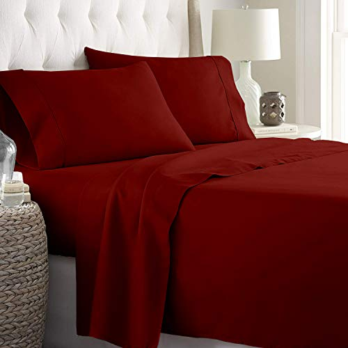 aashirainwear RV Bunk Size Sheet Set 4 Piece Set_Hotel Luxury Bed Sheets - Extra Soft 15' deep Pockets_Easy fit Breathable Bedding Sheets_Wrinkle Free Comfy_Burgundy Solid Bed Sheets_RV Bunk Sheets