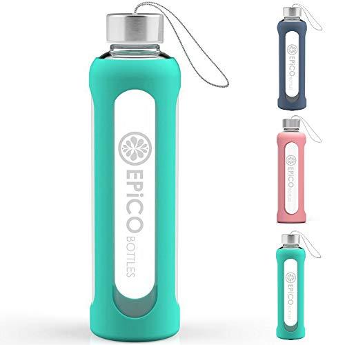 EPiCO BOTTLES Sport Glasflasche - Trinkflasche Glas 550ml mit Schutzhülle aus Silikon - spülmaschinenfest - Ideal für unterwegs, Saft, Sport und Yoga - 100% BPA frei