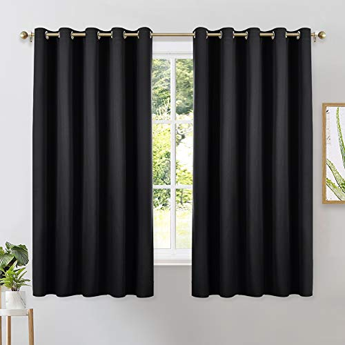 NICETOWN Bathroom Blackout Curtains and Drapes, Black Solid Thermal Insulated Grommet Blackout Drapery Panels for Window (2 Panels, 70 inches Wide by 63 inches Long, Black)