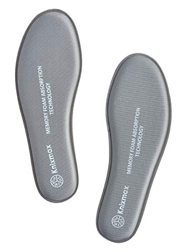 Knixmax Memory Foam Shoe Insoles for Women, Replacement Shoe Inserts for Sneakers Loafers Slippers Sport Shoes Work Boots, Comfort Cushioning Innersoles Shoe Liners Grey US 8/EU 39