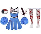 I LOVE FANCY DRESS LTD Disfraz DE Cheerleader O Animadora Muerta Zombi con Medias SANGRIENTAS Y PONPONS Azules para Adultos Conjunto Halloween (S)