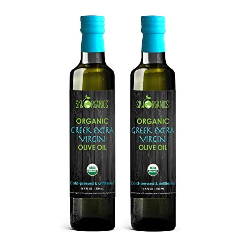 Sky Organics USDA Organic Extra Virgin Olive Oil- 100% Pure Greek Cold Pressed Unfiltered Non-GMO EVOO- For Cooking Baking - Hair & Skin Moisturizing, 16.9 oz (Pack of 2)