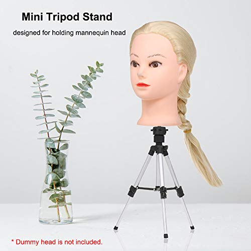 Wig Stand Tripod,Anself Aluminum Lightweight Adjustable 4 Segments Cosmetology Hairdressing Training Mannequin Head Wig Stand for Doll Head Block Wig Head with Non-Slip Base (13.8in-27.56in)