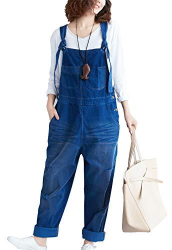 Flygo Damen Lässiger Loose Baggy Cord Bib Overalls Wide Leg Pants Jumpsuits - Blau - Einheitsgröße (40 DE/46 DE)