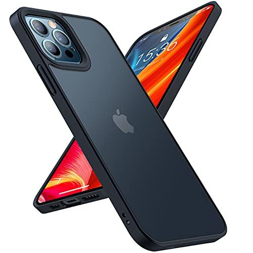 TORRAS Extrem Stoßfest Schutzhülle für iPhone 12 Pro Max Hülle (Verifiziert durch Falltest) Unzerstörbar Matt Samttouch Silikon Leicht Transparent Handyhülle iPhone 12 Pro Max Hülle Schwarz (6,7 Zoll)