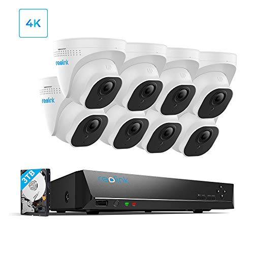 Reolink 4K 16CH PoE Video Surveillance Camera System, H.265 8pcs 8MP PoE IP Security Cameras Outdoor with a 8MP 16-Channel NVR, 3TB HDD pre-Installed,RLK16-800D8