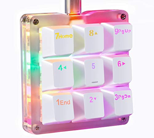 Koolertron One Handed Macro Mechanical Keyboard, RGB LED Backlit Portable Mini One-Handed Mechanical Gaming Keypad OSU! Keyboard 9 Fully Programmable Keys Red Switches