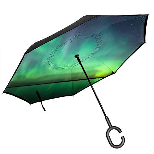 Paraguas invertido de doble capa con mango en forma de C, Northern Lights Over Lake Anti-UV impermeable resistente al viento paraguas recto para uso en el coche lluvia al aire libre