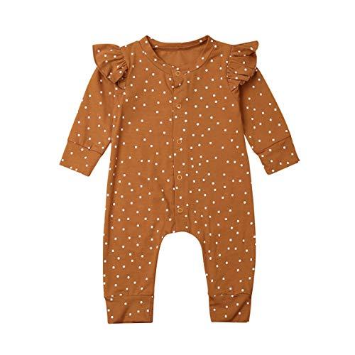 citgeett Newborn Infant Baby Girls Polka Dot Ruffle Sleeve Romper One-Piece Button Jumpsuit Fall Clothes Outfit (Brown,12-18 Months)